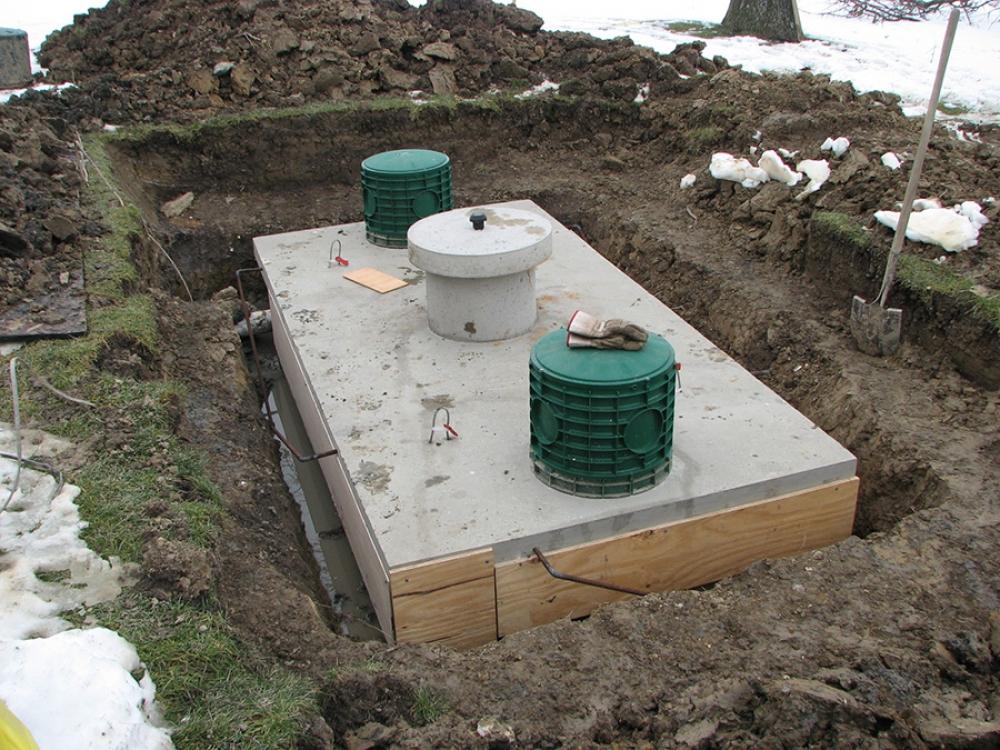 repaired tank pending concrete