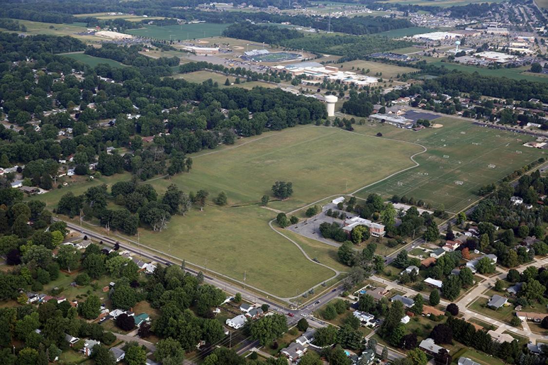 kinney field walking paths aerial view