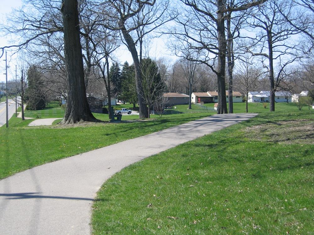 walking path at kinney field looking south