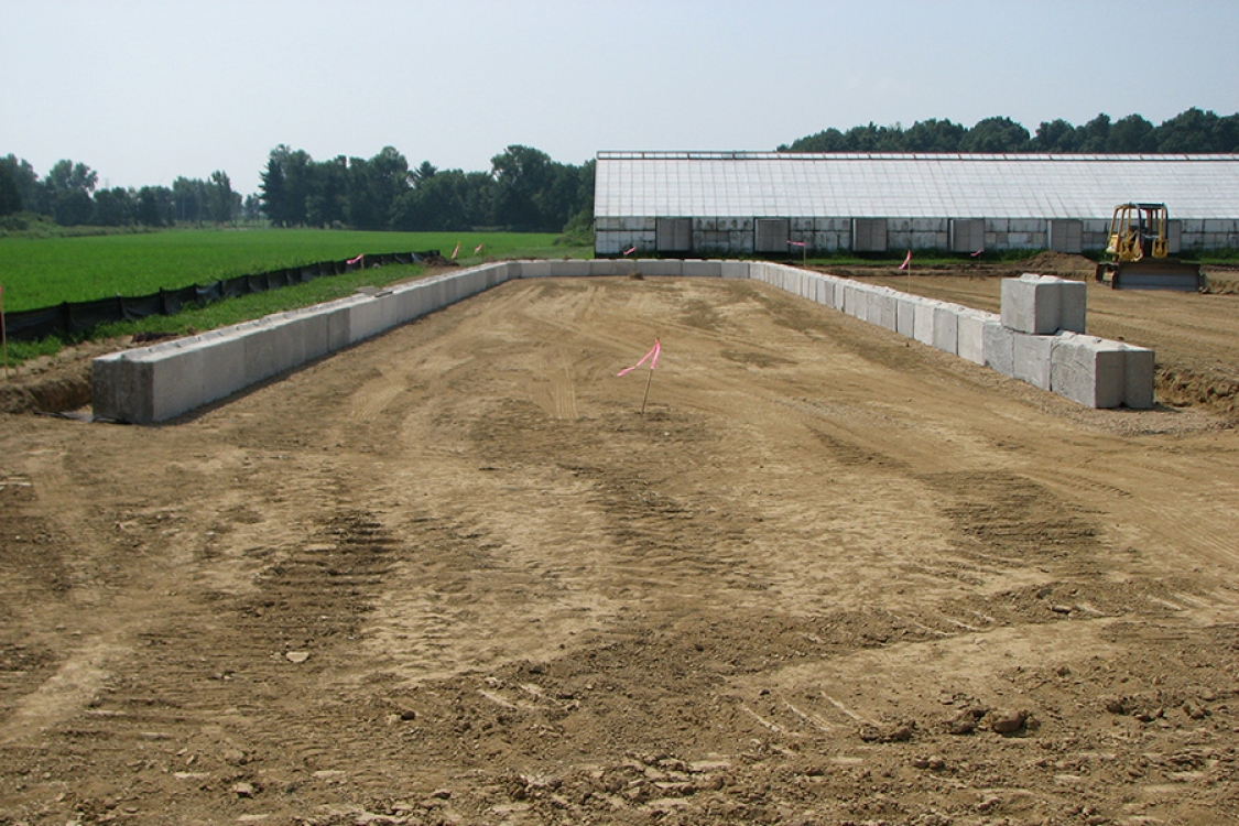 initial concrete structures in place for foundation