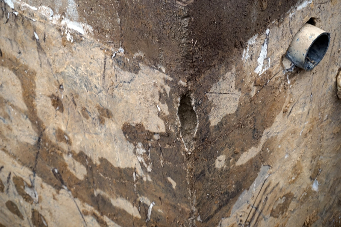 discovery of breaks and holes in foundation block