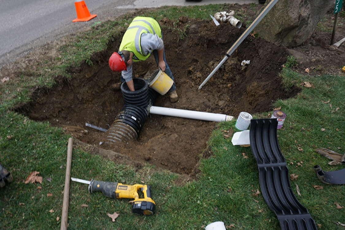 clear store sewer prior to beginning project