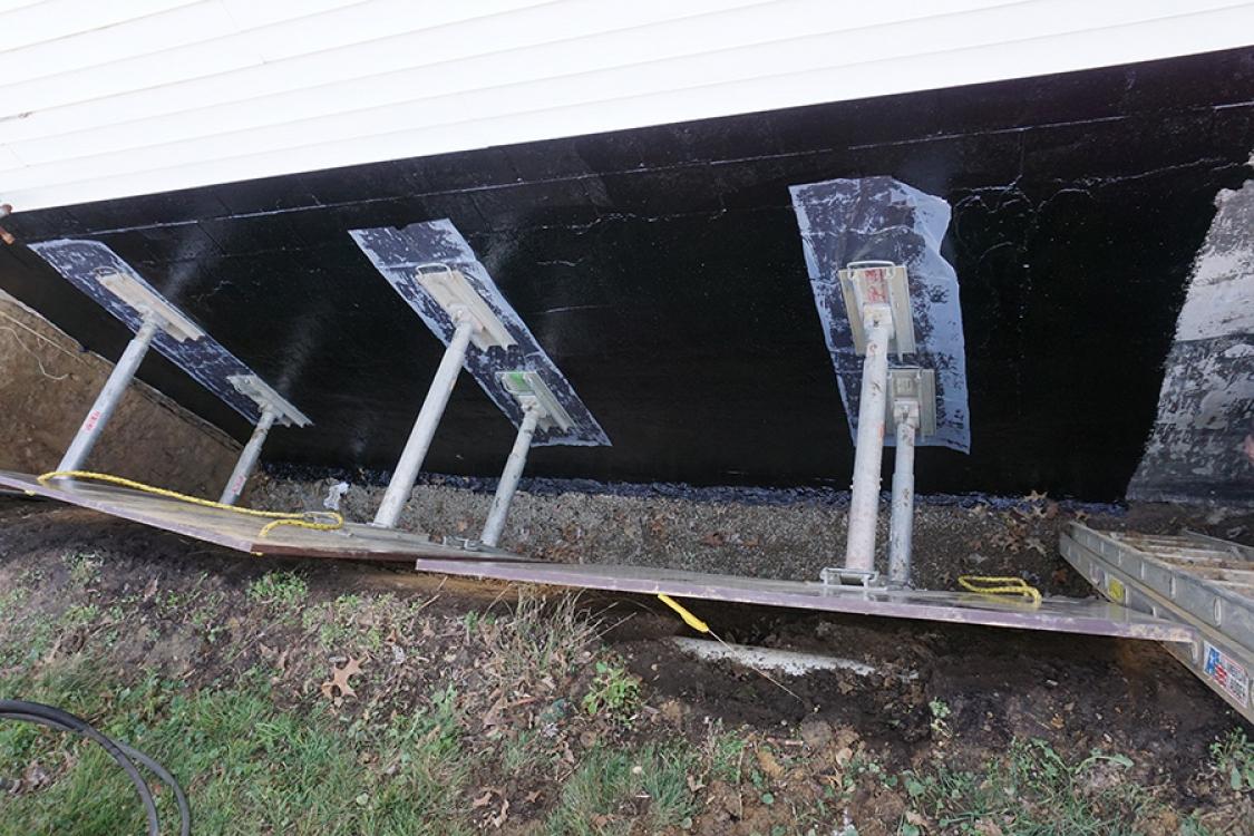 waterproofing material applied