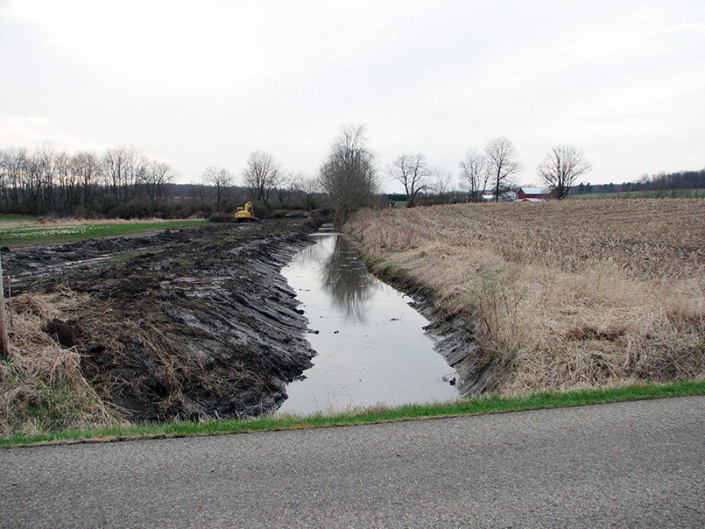 ditch partially cleared