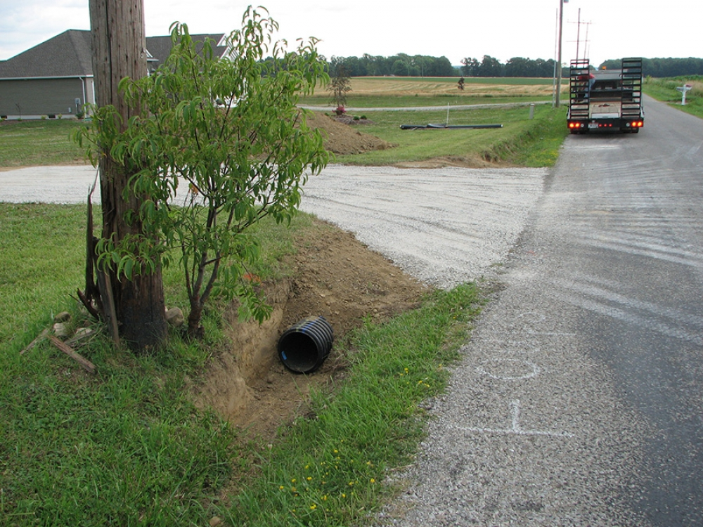 completed driveway entry and culvert