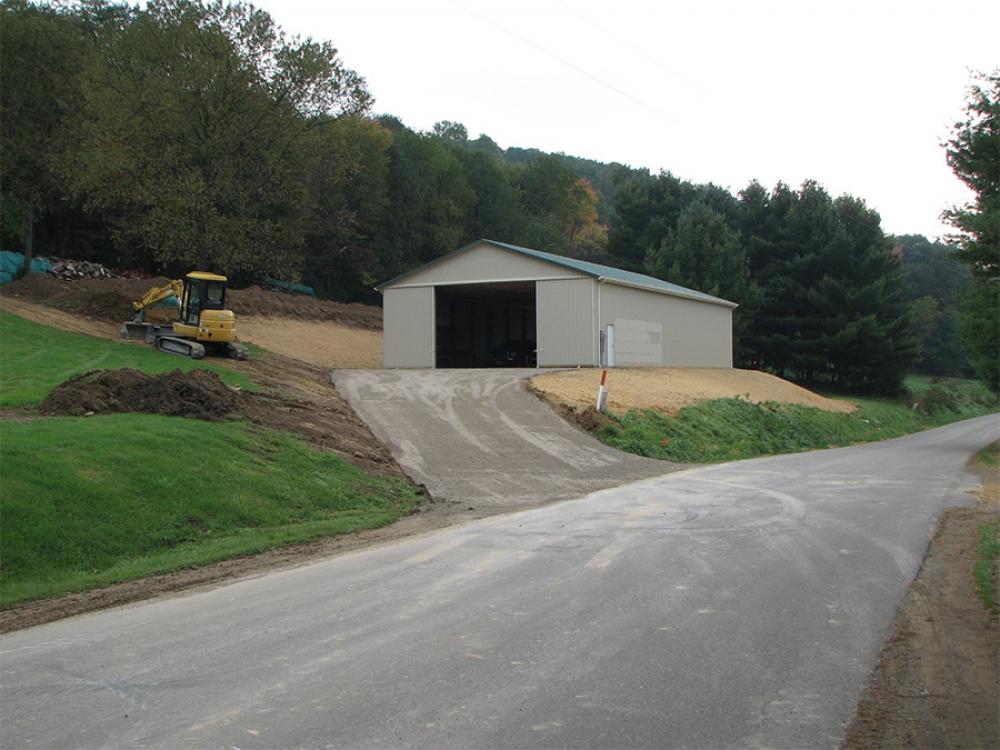 site preparation for new building on hillside