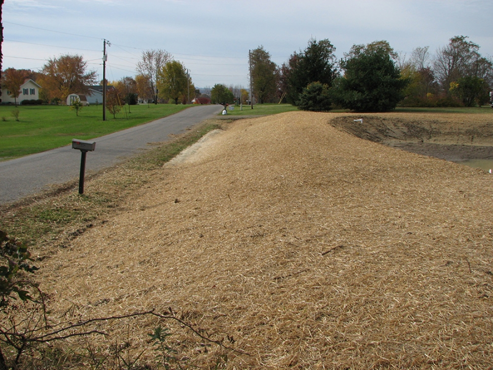 road view of completed pond features nicely graded banks